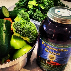 Getting ready to make some green juice with my Vitamineral green