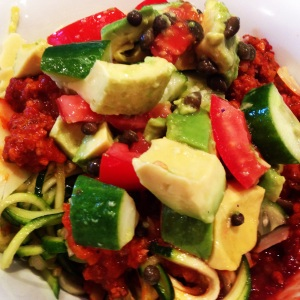 The Shrinking Hubby's Bolognese with Zucchini Noodles topped with Caper and Avocado Salsa