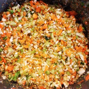 Chopped Veggies ready for The Shrinking Hubby's Bolognese Sauce
