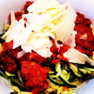 The Shrinking Hubby's Bolognese with Zucchini Noodles