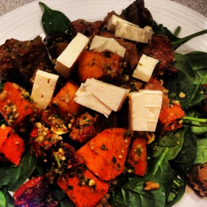 The Shrinking Hubby's Pesto, Lamb and Veggie Salad